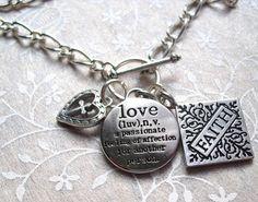 Faith, Love, Heart, Cross Charm Necklace. $18.00