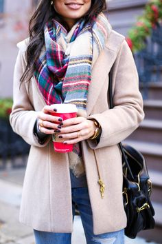 Plaid blanket scarf with camel coat