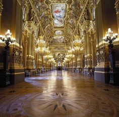 The Foyer of the Palais Garnier is absolutely gorgeous! That's one Aisle I'd love to walk down. Photo by Jean-Pierrer Delagarde #paris #weddings #opera #weddingvenues #art #weddingwednesday