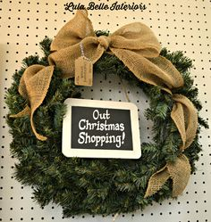 Out Christmas Shopping wreath from Lula Belle Interiors, www.lulabelleinteriors.com