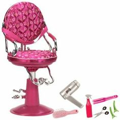 """Our Generation Lilac Salon Chair For 18"""" Dolls by Toysmith. $37.48. All Our Generation packaging is made from recyclable materials that are easily recycled again. From the fashionable and fun line of Our Generation dolls and accessories. Compatible with American Girl and most 18"""" dolls and accessories. For every Our Generation doll or accessory purchased, 10¢ goes to Free The Children's Power of a Girl Initiative. Comes with 1 salon chair, 1 spray bottle, 1 b..."""