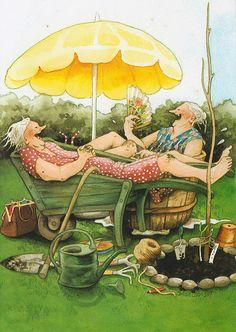 Inge Look illustrator. Old Lady Humor, Old Women, Old Ladies, Getting Old, Illustrators, Illustration Art, Old Things, Artsy, Drawings