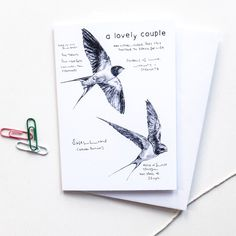 This sweet card features my drawing of two swallows, as well as some notes about the nature and significance of swallows. Swallows have a pair bond for life, and this card is titled A Lovely Couple. Swallows are symbols of love, strength and loyalty.  This is the perfect card for an engagement or a wedding, or even as an anniversary card for a special couple. The words A Lovely Couple are written on the front and then the card is blank inside for your own message  It is printed on lovely…