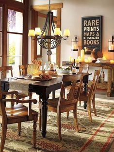 for the dining room - Cecil Rug - Green Dining Room Walls, Dining Room Lighting, Dining Room Design, Dining Room Furniture, Wood Furniture, Dining Area, Dining Table, Natural Wood Trim, Stained Trim