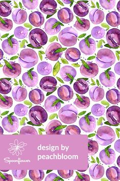 Watercolor Plums by peachbloom - Bright purple and lavender plums with lime and emerald green leaves on fabric, wallpaper, and gift wrap. Whimsical hand painted watercolor fruit pattern perfect for napkins, a table cloth, or a bold throw pillow! Click to see more hand painted watercolor designs by this indie designer. #plums #watercolor #purple #fabric #wallpaper #fruit #painting