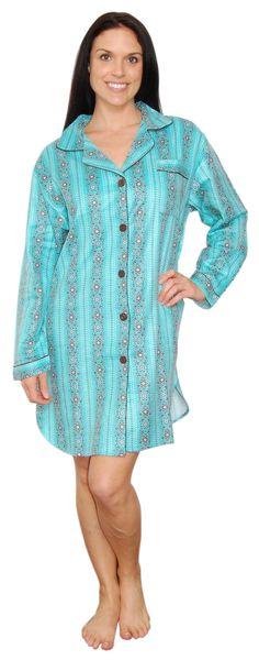 bSoft Floral Dottie Teal Longsleeve Bamboo Flannel Sleepshirt