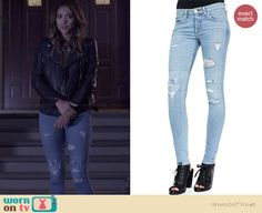 Emily's ripped jeans on Pretty Little Liars.  Outfit Details: http://wornontv.net/36166/ #PLL