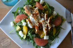 Citrus Avocado Salad with Chicken 6-8 cups of arugula (rocket) or spinach 2 small oranges, cut into segments 1 grapefruit, cut into segments 1 ripe avocado, cubed 1 Tablespoon olive oil Salt and pepper 1/2 cup Pickled Jicama, optional Top with Easy Pan-Fried Lemon Chicken or any other protein of choice, if desired