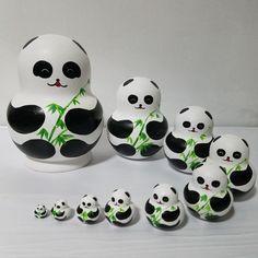 Panda peint à la main 10 couches Russe Matriochka poupées cadeau d'anniversaire ameublement articles éducatifs pour enfants jouets(China (Mainland))