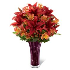 beautiful expression of Autumn's bounty of color and beauty. Gorgeous rust-colored Asiatic lilies make a bold impression arranged amongst orange Peruvian Lilies, red hypericum berries and lush greens. http://www.sendflowers.com/product/the-ftd-youre-special-bouquet.htm?refcode=15save #fallseason #flowers
