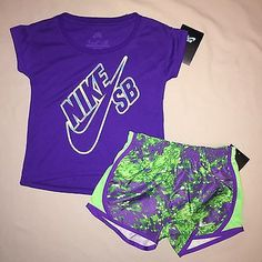 GIRLS SIZE 4 NIKE SHIRT PRINT SHORTS OUTFIT LOT OF 2 NWT