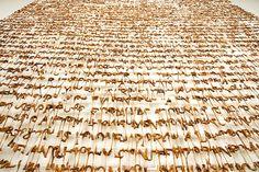 PABLO LEHMANN - hanging text (detail) Plastic Letters, Melted Plastic, Alphabet Soup, Exterior, Lettering, Texture, Uni, Mixed Media, Collage