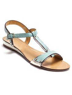 Sandales imitation reptile, details coloris doré BLEU/DORE+ROSE/DORE+BEIGE/DORE