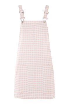 MOTO Pink Gingham Pinafore Dress