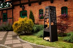 "Kominek ""Ażur"" Sidewalk, Fireplace Logs, Grilling, Stainless Steel, Metal, Closet Storage, Black, Walkways, Pavement"
