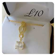 FOR SALE Signature Diamondesque Necklace. 14 Carat Gold Plated.