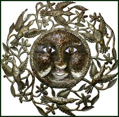 "Sun & Birds Metal Art Wall Hanging - Haitian Steel Drum Sculpture - 34"" x 34"" - $159.95 -  Steel Drum Metal Art from  Haiti - Interior Decor or Garden Décor  - Sun Metal Wall Hanging - Sun Home Décor - Metal Home Décor   * Found at  www.HaitiMetalArt.com"