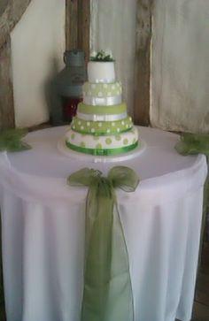 Green Polka Dot Wedding Cake
