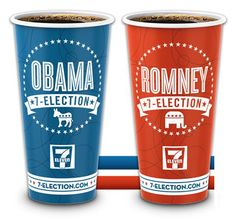 I will probably vote for Obama, and so I will be buying the red cup from 7 eleven. 7 Eleven, Election Day, Presidential Election, 2012 Election, Blue Coffee Cups, Political Images, Political Art, Startup News, Thing 1