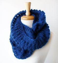 Kid Mohair & Silk Hand Knit Cowl / Snood