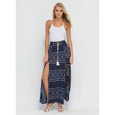 BLUE Fine Print Boho Double Slit Maxi Skirt ($32) ❤ liked on Polyvore featuring skirts, blue, blue maxi skirt, bohemian maxi skirt, long floral skirts, print maxi skirt and maxi skirts