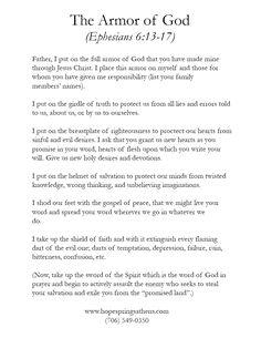 armour of god prayer   The Armor of God