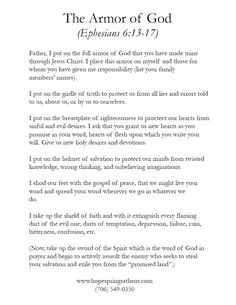 armour of god prayer | The Armor of God