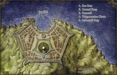 Fantasy map of Star Fort for Island at the Axis of the World pathfinder adventure for Zeitgeist