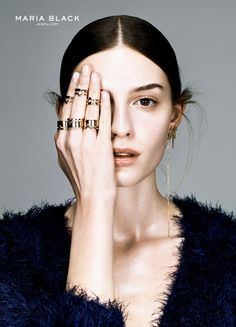 "Nude eyes, feathered brows, natural #beauty look. Maria Black ""The Occasional Dream"" #jewellery campaign."