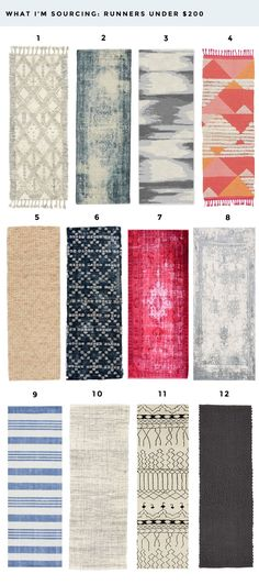 Amazing colorful runner for your kitchen, hallways and baths!  All of these runners are under $200.  Rugs are an awesome way to add color and pattern to a neutral space without a huge investment.