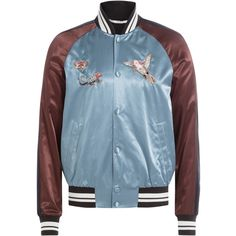 Valentino Satin Bomber Jacket (€1.960) ❤ liked on Polyvore featuring men's fashion, men's clothing, men's outerwear, men's jackets, multicolor, mens satin bomber jacket, mens bomber jacket and mens satin jacket