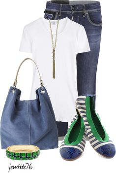 """Simple in Green & Blue"" by jewhite76 ❤ liked on Polyvore"