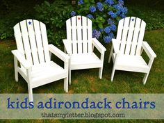 DIY Kids Adirondack Chairs for Fourth of July - Jaime Costiglio : A DIY tutorial to build kids adirondack chairs. Perfect for fourth of July or any backyard time these kid sized chairs are just the right fit. Diy Kids Furniture, Rustic Furniture, Furniture Design, Funky Furniture, Plywood Furniture, Furniture Plans, Chair Design, Design Design, Outdoor Furniture