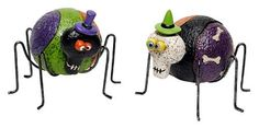 """6"""" Halloween Skeleton Bug Rock Home & Garden Decor - Set of 2 by Transpac. $32.99. 6"""" dia x 5.5"""" h  (body is 3.5"""" dia). Indoor or outside use. Sold as a pair. Ceramic bugs with metal legs. Halloween decor. These creepy critters add a colorful accent to your garden or home. Bodies are crafted from ceramic with metal legs. Purple areas are dusted with glitter. Heads are attached to bodies with black spring to give them 'bounce'. Sold as a pair."""
