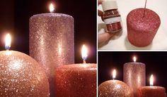 Free Christmas Labels and Holiday Printables Glitter Candles, Diy Candles, Pillar Candles, Holiday Candles, White Candles, Diy Craft Projects, Decor Crafts, Diy Crafts, Craft Ideas