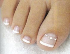 French pedicure with a little bling...just make that bling purple and i think I LOVE IT!