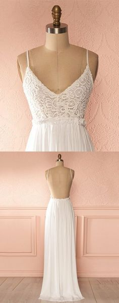 elegant v-neck prom party dresses with backless, fashion formal evening gowns with appliques, simple white dresses for special occasion. #partydress