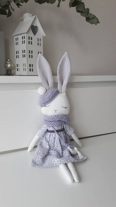 White-lavender bunny, Bunny doll,Fabric doll , Cloth doll,Gift for girl Fabric Toys, Fabric Crafts, Scrap Fabric, Sewing Toys, Sewing Crafts, Doll Toys, Dolls, Bunny Bunny, Fabric Animals