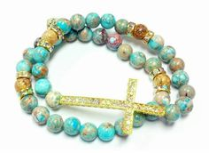 Turquoise Jasper Cross Beaded Bracelet by RandRsWristCandy on Etsy, $9.00