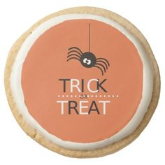 #Trick or Treat// Funny spider Round Shortbread Cookie - #halloween #party #cookies #sweets #goodies