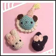Little crocheted animal brooches/pins i made.  #craft #crochet #kawaii #yarn #brooch #hobby #handmade #crochetanimal #crochetbear #crochetcat #crochetbunny #crochetjewelry #crochetbrooch #crocheting #crochetlove #kawaiicrafts