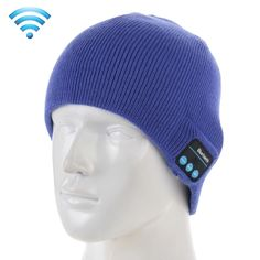 [USD7.79] [EUR7.11] [GBP5.56] Knitted Bluetooth Headset Warm Winter Hat with Mic for Boy & Girl & Adults(Blue)