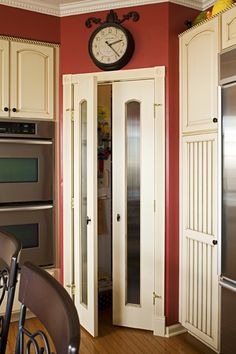 Kitchen Makeover Makes Room for Grandkids   Country Kitchens — Country Woman Magazine - Like the cabinets beside the refrigerator and the pantry doors. New Kitchen Designs, New Home Designs, Modern Kitchen Design, Kitchen Ideas, Pantry Ideas, Corner Pantry, Kitchen Corner, Kitchen Pantry, Kitchen Reno