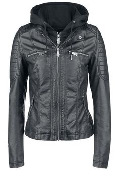 Hooded Faux Leather Jacket - Black Premium by EMP Veste intersaison