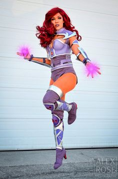 Character: Starfire (Koriand'r) / From: DC Comics 'Teen Titans' & DCAU's 'Teen Titans' Cartoon Series / Cosplayer: Rebecca Maynard (aka Bec of Hearts, aka Bec's Cosplay Wonderland) Teen Titans Cosplay, Dc Cosplay, Cosplay Makeup, Cosplay Outfits, Best Cosplay, Cosplay Girls, Cosplay Ideas, Female Cosplay, Dc Comics