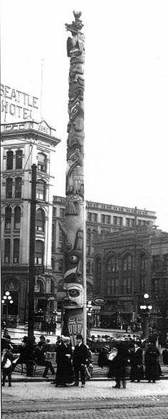 """Pioneer Place Totem Pole In 1899, some of the town's leading citizens added a totem pole, which they had stolen from a Tlingit village while returning from a """"goodwill cruise"""" to Alaska. The original was scorched by an arsonist in 1938, and legend has it that when the city tried to buy a new pole, the Tlingits thanked Seattle for """"paying for the first one.""""  Actually, the U.S. Forest Service underwrote the replacement pole, which was carved by native craftsmen Charles and William Brown."""