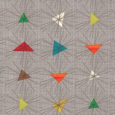 Geometrics Triangle Sun Rays in Grey by Moda Fabrics- 1/2 Yard -  Grey Fabric - Jenn Ski - Mid Century Fabric. $4.25, via Etsy.