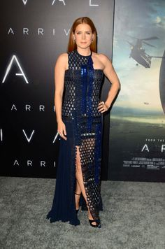 """Amy Adams stuns in a deep blue Versace gown inspired by the Spring Summer 2017 runway collection at the premiere of her new film """"Arrival"""". #VersaceCelebrities"""