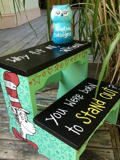 """Dr Seuss wooden step stool """"why fit in when you were born to stand out."""" NaptimeDesignsJD@gmail.com"""