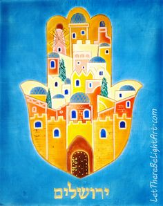 Hamsa Jerusalem (Ierushalaim), 8x10 inch, egg-tempera-painting workshop, Flensburg, Germany, Fall 2016.